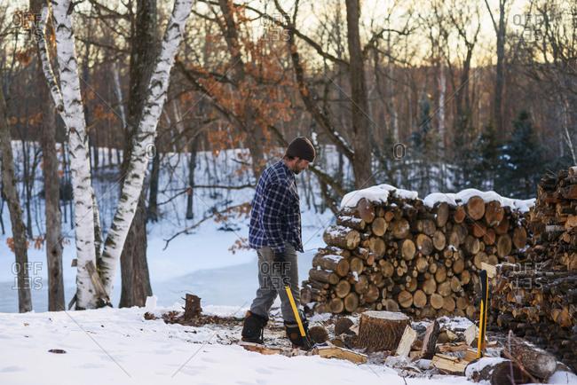 Man chopping firewood