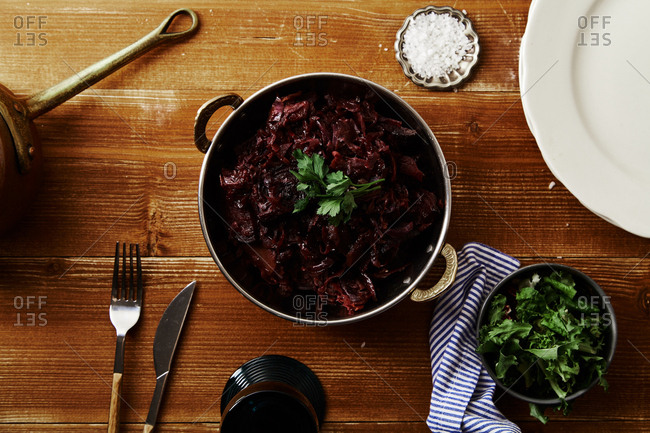 Red cabbage with beetroot braised in red wine sauce served with sea salt and parsley