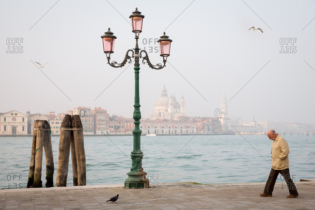 March 19, 2014: Bald Old Man Walking on the Seafront in the Mist with Venice and San Marco in the Background