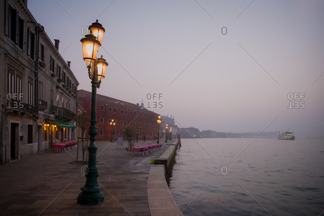 Restaurant Terrace on the Giudecca Island Seafront at Sunset
