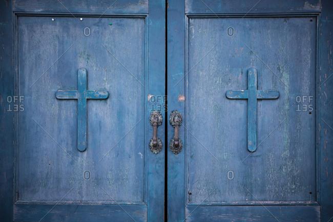 Blue Venetian Church Door