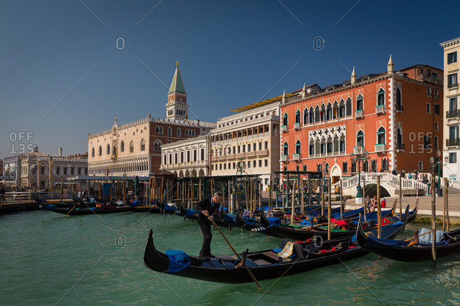 March 20, 2014: The Doge's Palace and the Golndola Docks Viewed from the Sea in San Marco