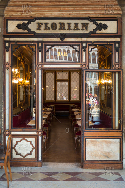 March 20, 2014: Entrance of the Florian Caf_ in San Marco Square, Venice