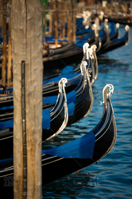 Detail of the Gondolas Floating on the Water in the San Marco Square Harbor in Venice