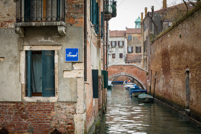 View of Venice Canals with Gondola Sign