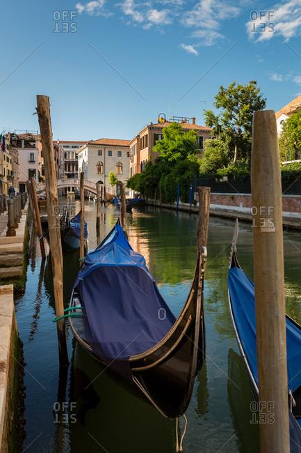 Gondolas Harbor in a Venice Canal on a Sunny Day