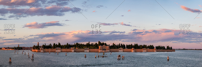 Panorama of the San Michele Cemetery Island of Venice at Sunset