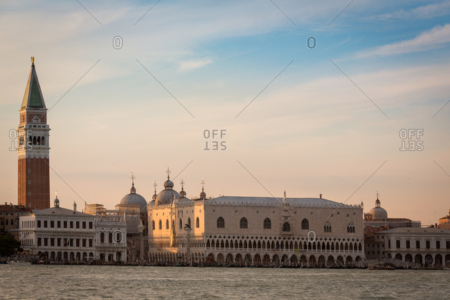 San Marco Square and the Doge's Palace of Venice at Sunset Viewed from the Giudecca Island