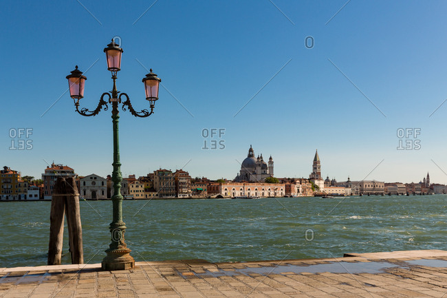 San Marco Square and the Doge's Palace of Venice Viewed from the Giudecca Island Seafront on a Sunny Day
