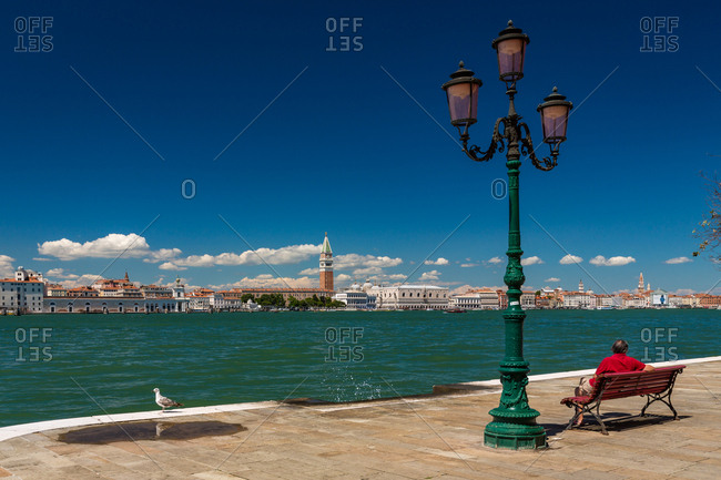 Man on a Bench Facing San Marco Square and the Doge's Palace of Venice Viewed from the Giudecca Island Seafront on a Sunny Day