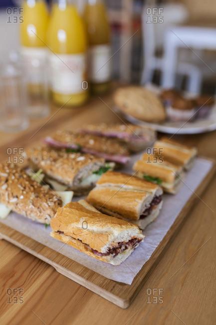 Sandwiches served in a restaurant