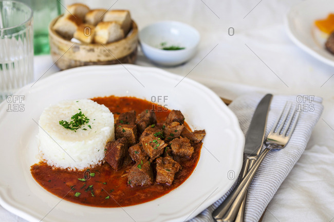 Goulash served in a restaurant