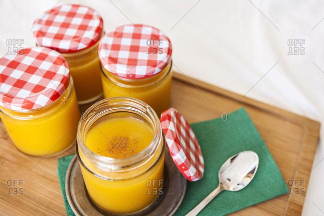 Fruit puree in jars