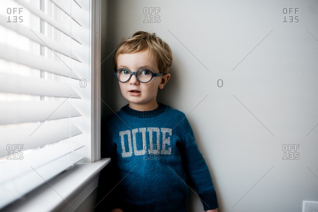Portrait of a little boy with glasses