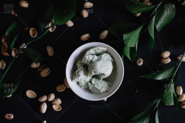 Overhead view of pistachio ice cream