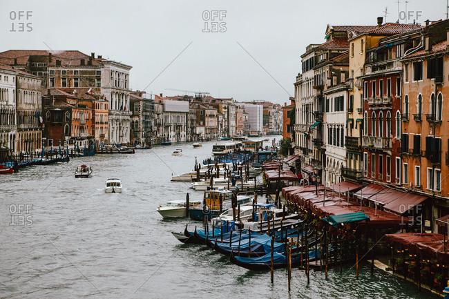 Venice, Italy - November 9, 2010: View of the Grand Canal from Rialto Bridge