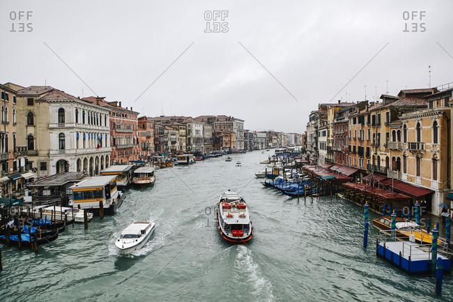 Venice, Italy - November 9, 2010: View of Grand Canal boat traffic from Rialto Bridge