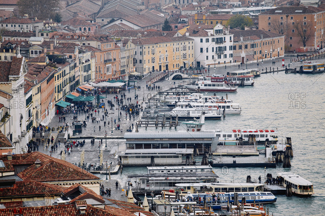 Venice, Italy - November 9, 2010: View of busy walkway from the bell tower in St Mark's Square