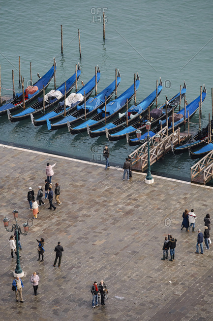 Venice, Italy - November 9, 2010: Gondolas in the Grand Canal by St Mark's Square in Venice, Italy