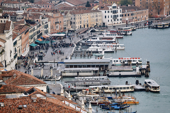 Venice, Italy - November 9, 2010: Dockside view from the bell tower in St Mark's Square