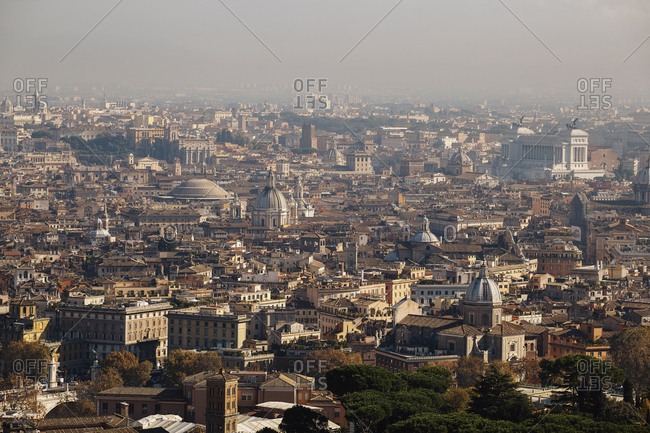 Rome cityscape view from St. Peter's Basilica, Vatican, Italy