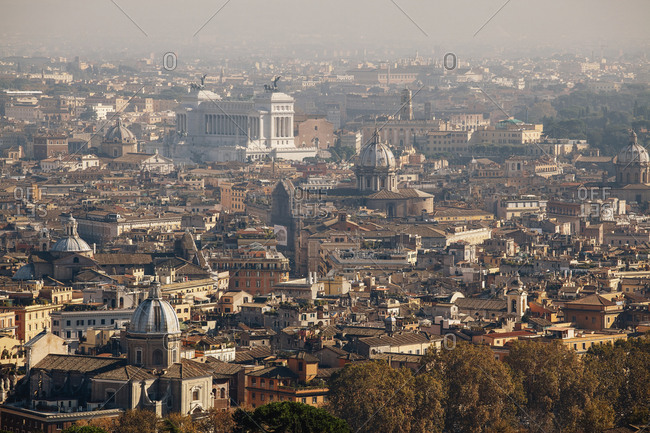 Rome city skyline view from St. Peter's Basilica, Vatican, Italy