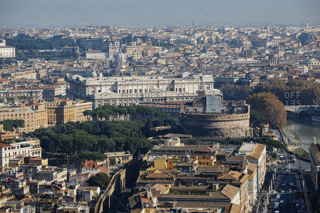 Rome city buildings from St. Peter's Basilica, Vatican, Italy