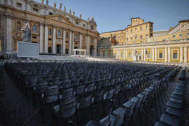 The Vatican exterior with chairs set up