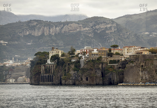 Cliffside housing on Bay Of Naples, Italy