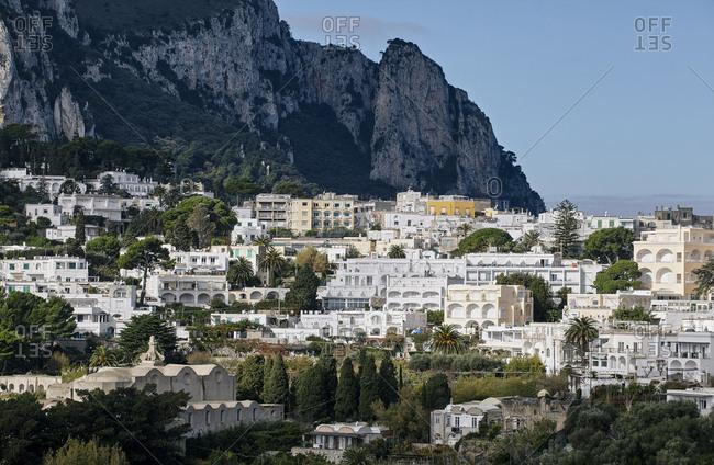 Beautiful view of Capri Island neighborhoods in Italy