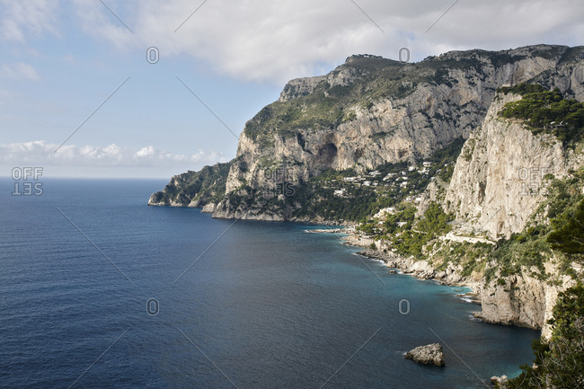 Rocky coastline on Capri island, Italy