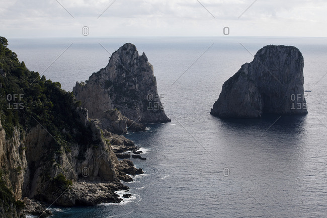 Skyline view of rock formations at Capri Island