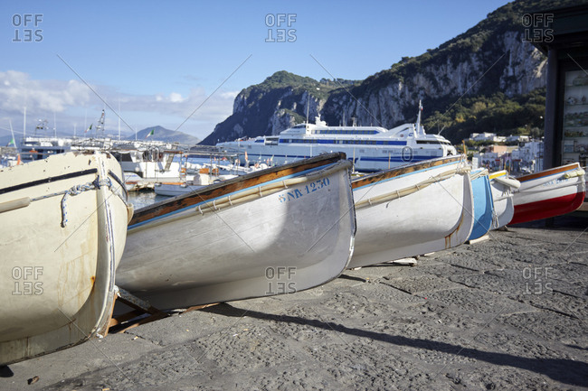 Wooden boats at Marina Grande, Island of Capri, Italy