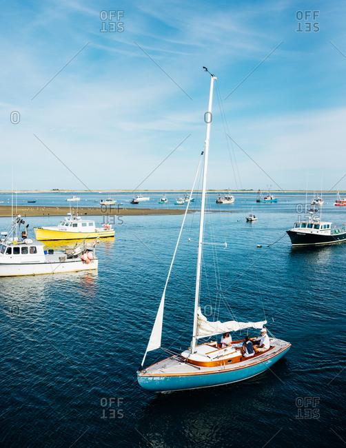 Cape Cod, Massachusetts, USA - September 2, 2017: Sailboat in bay