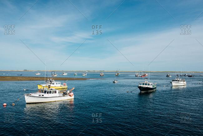Cape Cod, Massachusetts, USA - September 2, 2017: Fishing boats anchored in bay