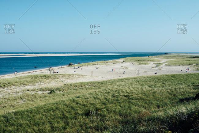 Many people walking on sandy beach