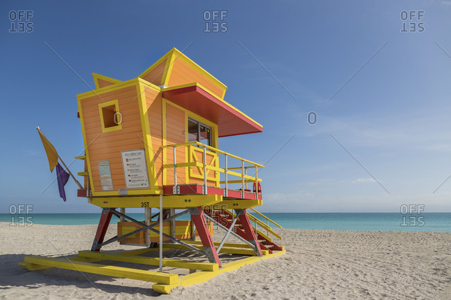 Brightly colored lifeguard station on the coast of Miami, Florida