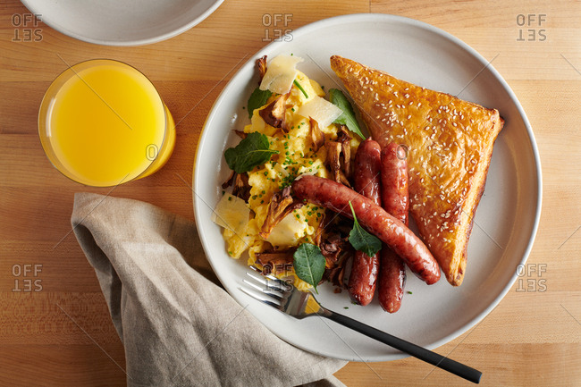 Middle eastern style sausage breakfast with scrambled eggs
