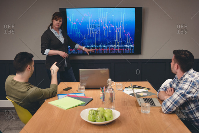 Businesswoman giving presentation to colleagues in meeting room at office