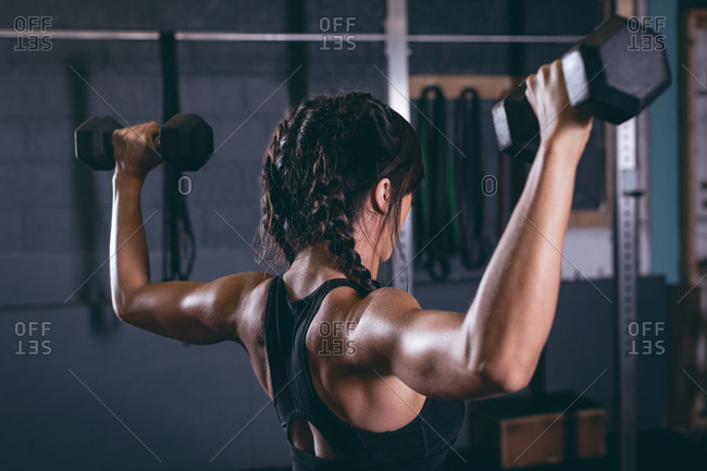 Fit woman exercising with dumbbells in the gym