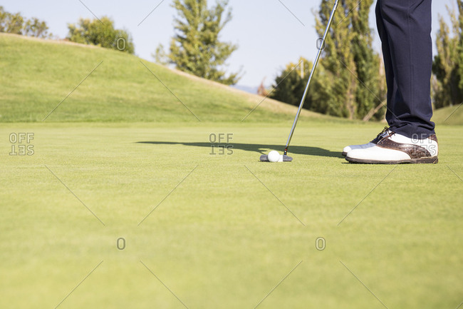 Ground level view of golfer lining up putt