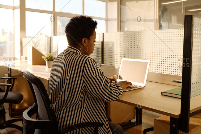 Side view of stylish African American female in striped black and white blouse working on laptop in modern office illuminated by evening sunlight