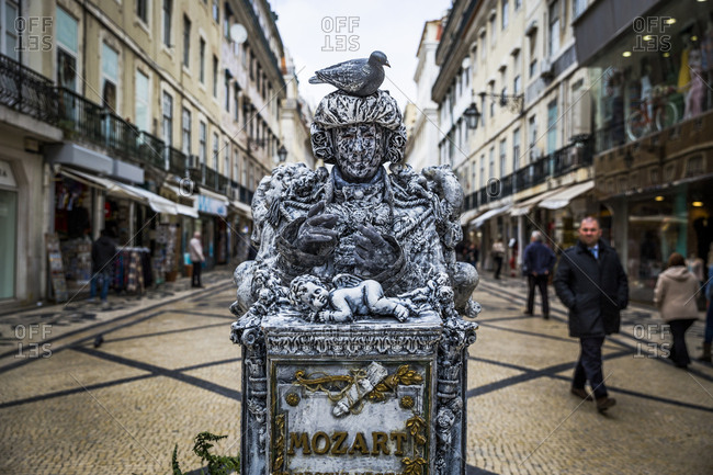 Lisbon, Portugal - March 28, 2016: Mozart street performer on Rua Augusta