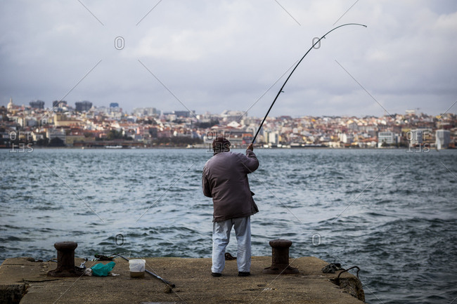 Fishing from the Cacilhas area of Lisbon, Portugal