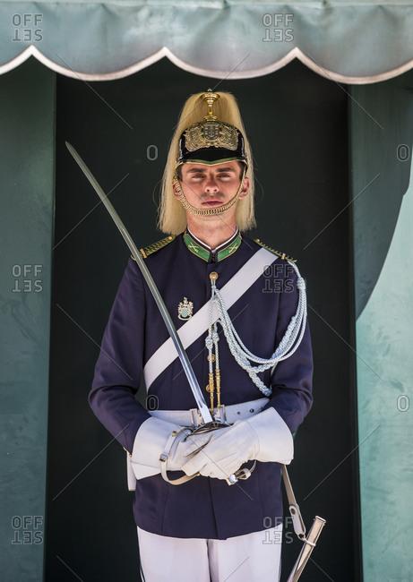 Lisbon, Portugal - April 1, 2016: Guard outside the National Palace