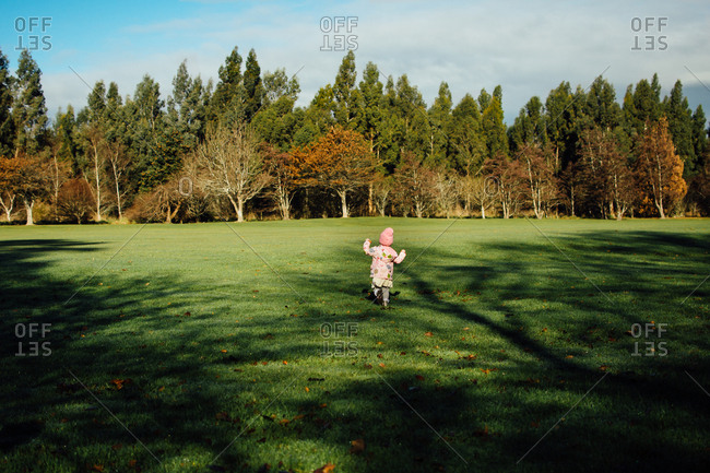 Toddler girl running in open field
