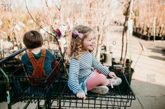 Kids sitting in shopping cart in a garden center