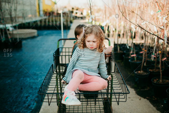 Two kids sitting in shopping cart in a garden center