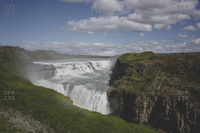 A rainbow in the mist of the Gullfoss waterfalls in southwest Iceland