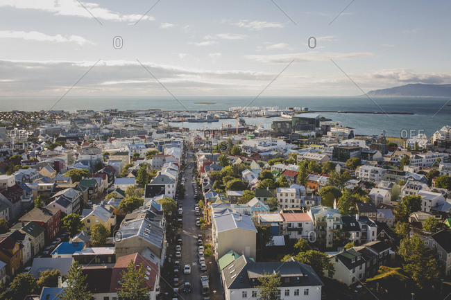 A view of the colorful buildings in the city of Reykjavik, Iceland and the bay from the Hallgrimskirkja Church